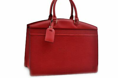 Authentic Louis Vuitton Epi Riviera Black Hand Bag Red LV 84267