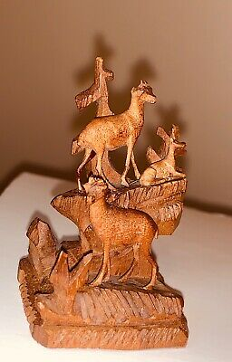 VTG MINIATURE Carved Wood Ibex / Buck Figurine Table Bell Brienz Black Forest 2""
