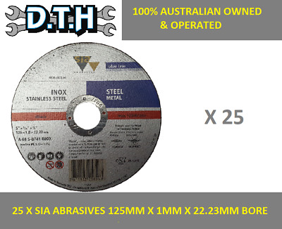 Sia Abrasives 25 Piece 125Mm X 1Mm Steel German Cutting Disks 22.23Mm Bore