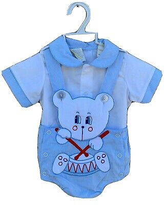 Vintage Baby Togs 2 Pc Outfit Shortalls & Shirt Teddy Besr Drummer 3-6 Mos
