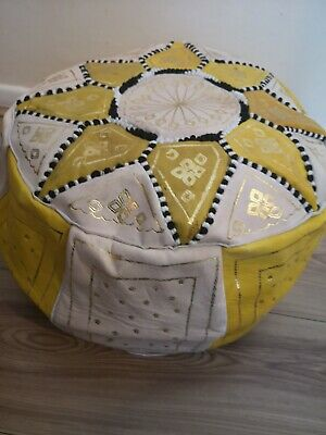 Moroccan pouffe Leather Footstool Yellow Cream seating ottoman poufe pouf New