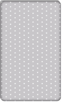 BABY FITTED COT BED SHEET PRINTED100%COTTON MATTRESS140x70cm White Stars on Grey