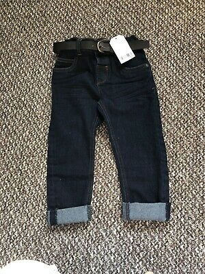 Boys New Next Jeans With Belt Age 2 - 3 Years