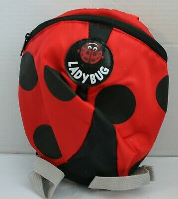 Ladybug Toddler Safety Harness Backpack w/Padded Handle Leash & Attached Hat