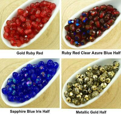 AWESOME 100pcs 4mm Celsian Finish Fire Polished Czech Beads *Pick Your Color