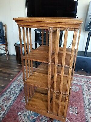 Antique Vintage Revolving Quarter Sawn Oak Bookcase