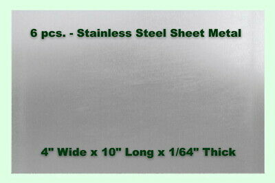 """Stainless Steel Sheet Metal Strips (6 - Sheets) 4"""" Wide x 10"""" Long x 1/64"""" Thick"""