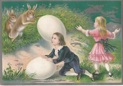 Antique Easter Greeting Card Fantasy Embossed Bunny Rabbits Large Eggs Children
