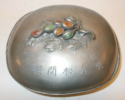 Superb  VtgCHINA Large PEWTER BOX JADE Gem stones SIGNED