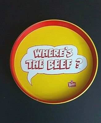"""Where's The Beef? Vintage Wendy's 1984 Advertising Tray 14"""" Diameter"""