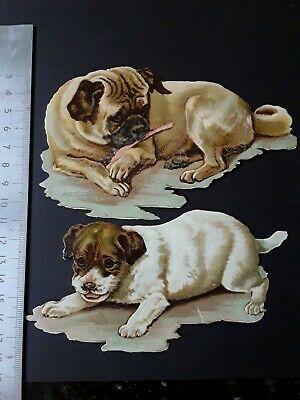 victorian scraps 2 dogs including pug, original die cut chromos