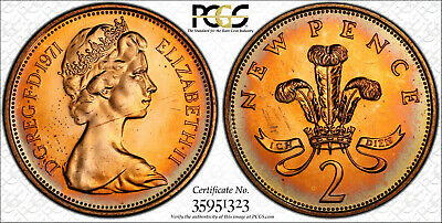 NQC 1971 2P Great Britain S-C1 New Pence PCGS 65 RD (Tone Colors)