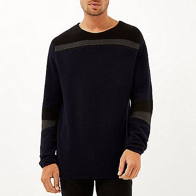 River Island Mens Boys Navy Blue Colour Block Jumper Size XXS Extra Small New