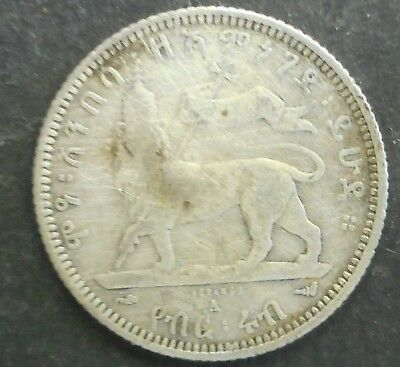 Ethiopia EE 1889 1897  1/4  Birr  Coin  silver coin cleaned