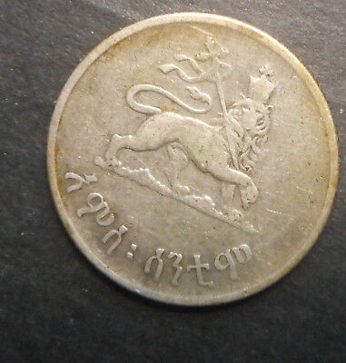 Ethiopia  EE 1936  50 Cent Silver Nice gum residue obverse