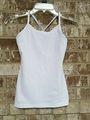 IVVIVA By LULULEMON Girls White Racerback Athletic Top With Shelf Bra Size 10