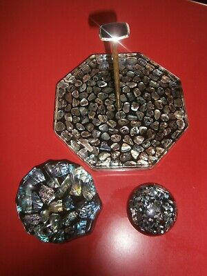 NEW ZEALAND - Paua shell resin x 3,  Handled cake Plate, pen holder and dish