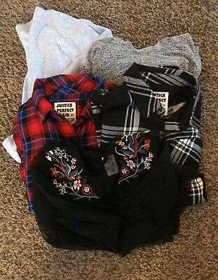 EUC Girls Sz 10/12 5 Peice Long Sleeve Shirt Lot! Justice, Old Navy, Arizona