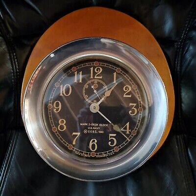 Seth Thomas Mark 1 Deck Clock U.S.Navy Ship Bulkhead 1940 Bronze Running w/ Key