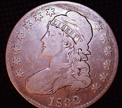 1832 Large Letters Capped Bust Half Dollar 50c Silver OFFSET RIM/EDGE