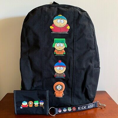 South Park Vintage Backpack Set Wallet Keychain 1999 Rare Excellent Condition