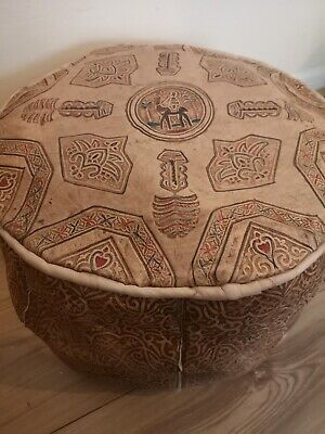 Genuine Leather Pouffe Moroccan Poufe Handmade New Footstool Berber