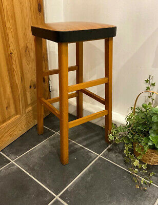 Vintage Retro Tall Kitchen Wooden Stool Mid Century Wood Effect Vinyl Seat