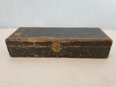 """Antique CHARLES TOLLNER Wooden Box with Brass Latch & Hinges  9.75"""" x 3.5"""" x 2"""""""