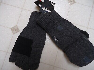 Mens Thinsulate 3M Thick Wool Knitted Half Mitten Suede Palm Gloves