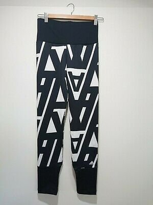 NWOT Black White ADIDAS Leggings Active Wear Girls Sz 14 Womens Small Climalite