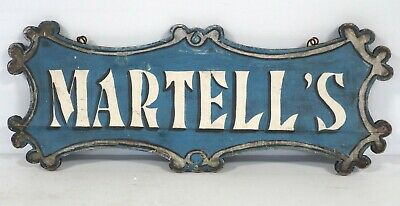 Antique Vintage MARTELLS Family Advertising Wood Hand Painted Sign -- Folk Art