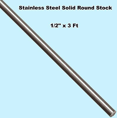 """Stainless Steel Solid Round Stock 1/2"""" x 3 Ft Length 303 Unpolished Rod 36"""" Long"""