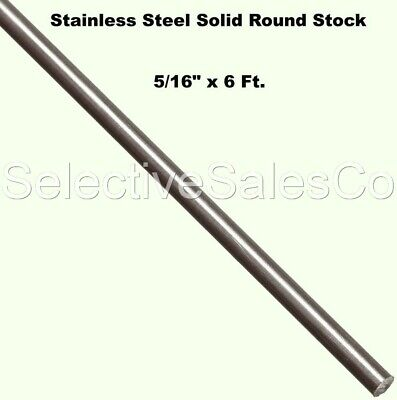"""Stainless Steel Solid Round Stock  5/16"""" x 6 Ft  Length 303 Unpolished 72"""" Rod"""