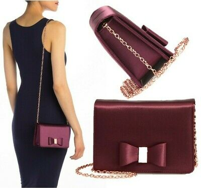 """NWT TED BAKER LONDON Eveelyn Bow Satin Evening Bag """"Deep Purple"""" Rose Gold Chain"""