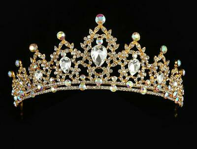 Gold Ab Iridescent Rhinestone Crystal Beauty Queen Tiara Crown Bridal Pageant