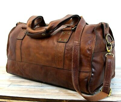 Fossil BROWN GENUINE LEATHER ZIP TOP CARRYON OVERNIGHT DUFFEL TRAVEL BAG LUGGAGE