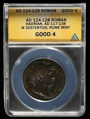 124-128 AD ROMAN HADRIAN 117-138 SESTERTIUS 32mm ANCIENT COIN ROME MINT ANACS G4