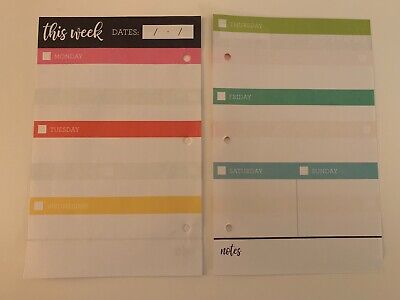 Weekly Planner Pages For Mini 3 Ringer Binder 30 Sheets Multi Color Brand New