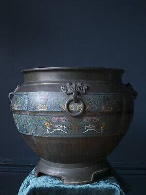 Extra Large Antique Chinese Bronze and Enamel Planter