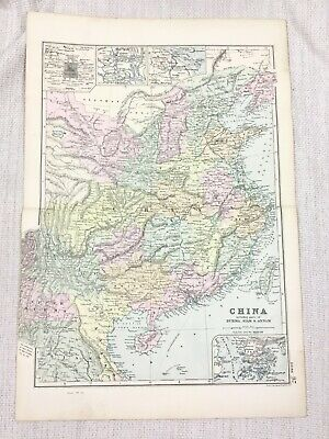1892 Antique Map of China Burma Siam Annam The Far East Asia G W Bacon