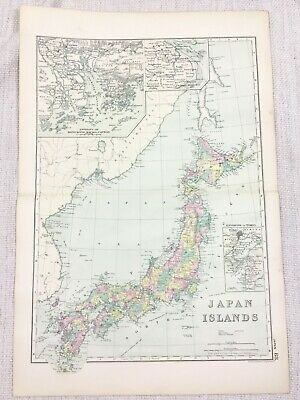1892 Antique Map of Japan The Japanese Empire Islands Yezo Nippon G W Bacon
