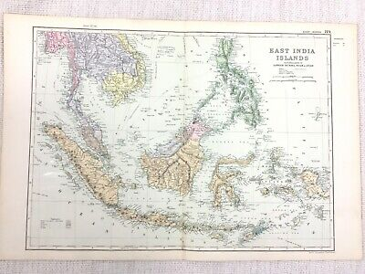 1892 Antique Map of The East Indies Lower Burma Siam Anam 19th Century G W Bacon
