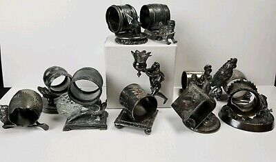 Collection Of 10 Antique American Silver Plated Figural Napkin Rings