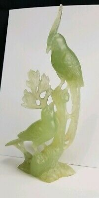 Carved Bowenite Bird Sculpture Chinese 11""