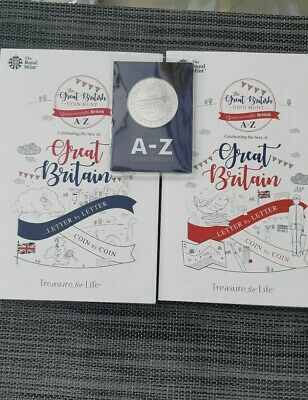 A-Z 10P Coins 2018 & 2019 Set Of Mint Coins In Brand New Albums &Completer Medal