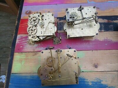 3 X Antique/Vintage Westminster Chime Clock Movements For Spares Or Repair