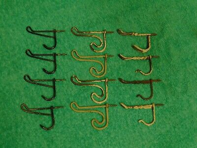 Lot of 12 Vintage Steel Wire Screw In Coat / Hat Rack Hooks