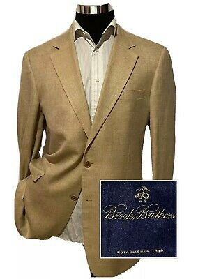 Brooks Brothers Mens Silk Linen Cotton Blazer Jacket Sport Coat Gold SZ 41L