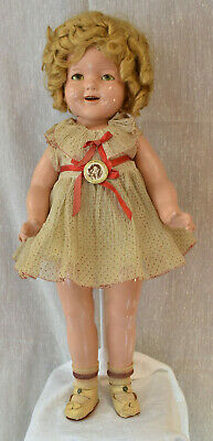 "Vintage Shirley Temple 22"" Composition Doll 1930's Original Red Polka Dot Dress"