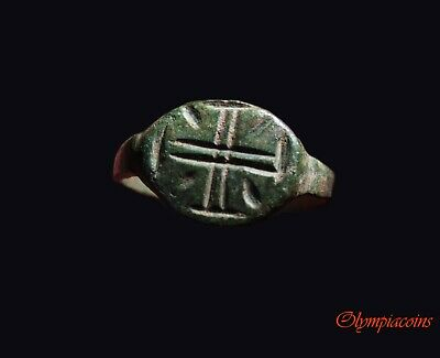 ** EXCELLENT  ** Ancient Byzantine Bronze ** CROSS ** ring